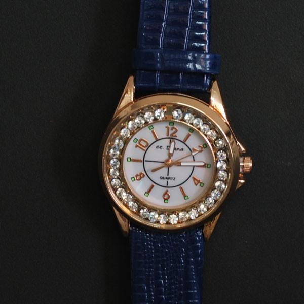 腕時計 男女兼用 大き目盤面 シンプル ネイビ...