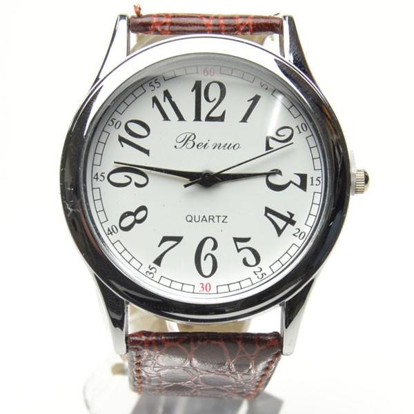 腕時計 男女兼用 シンプルビッグ盤面  ブラウ...