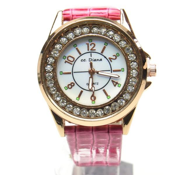 腕時計 男女兼用 シンプル盤面  ピンク皮ベル...