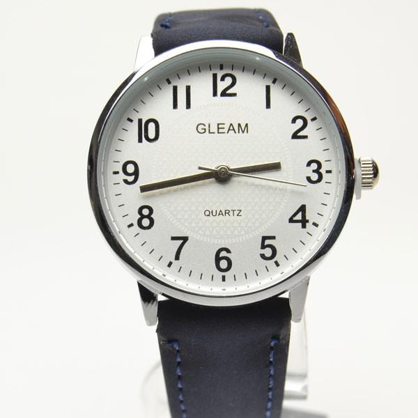 腕時計 男女兼用 シンプル盤面  ブラック皮ベ...