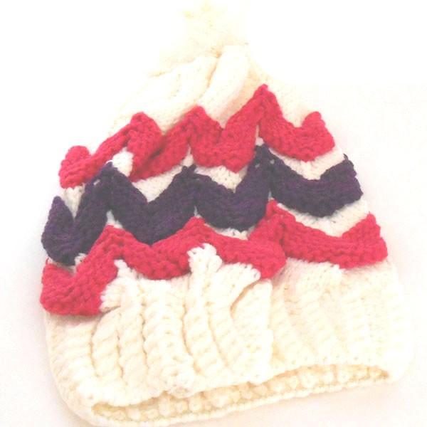 シンプル リブ 編み ニット帽  ボンボン付き  ...