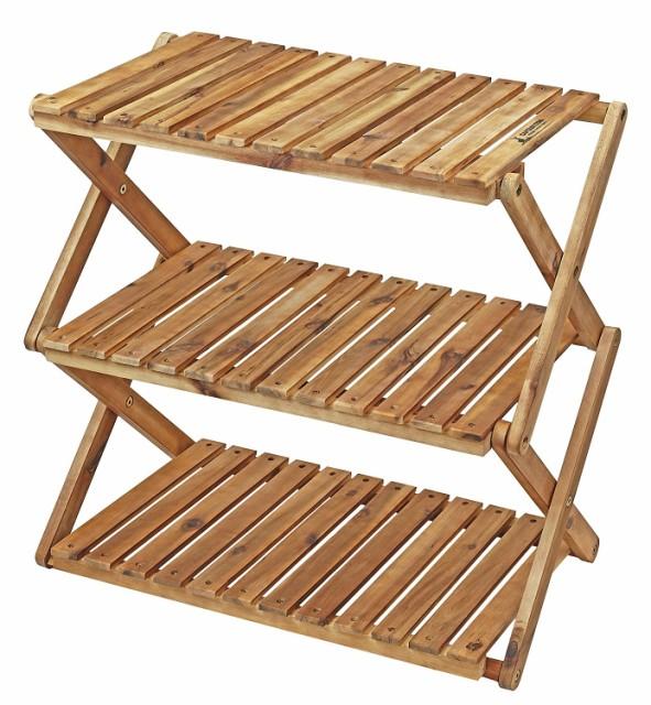(CAPTAIN STAG) キャンプ ベランダ 収納棚 木製3...