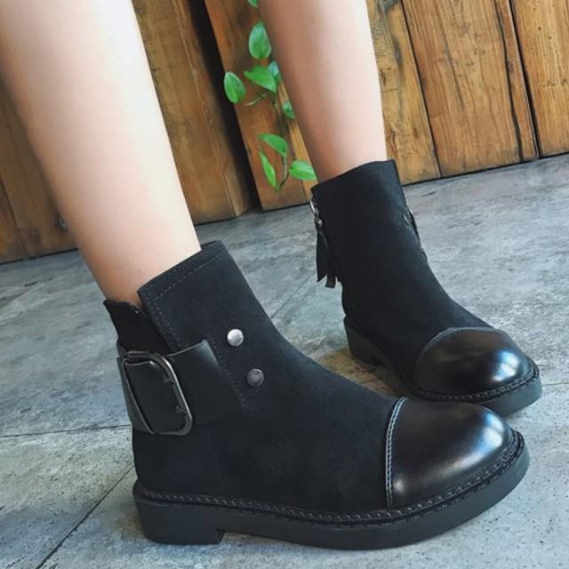 ブーツ ショートブーツ ブーティー ローヒールブ...