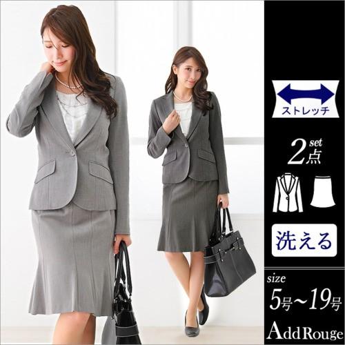 スーツ レディース スカートスーツ ビジネススーツ リクルート 就活 ストレッチ ジャケット スカート 2点セット 大きいサイズ j5030