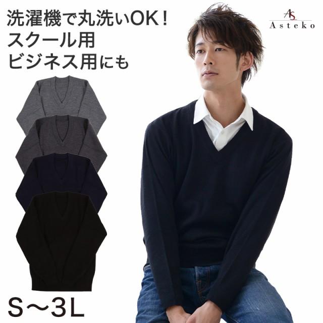 Vネック セーター メンズ スクール ビジネス S〜3...