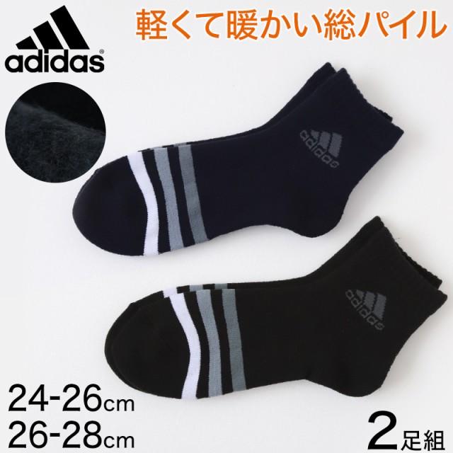 アディダス メンズ総パイル裏起毛ソックス2足組 2...