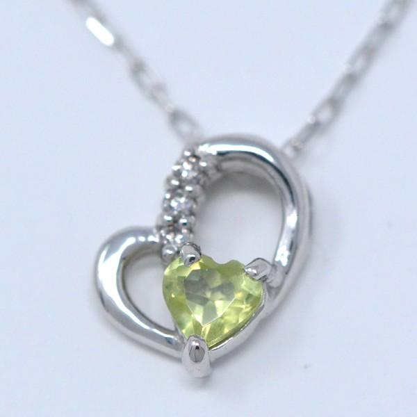 ペリドット ダイヤモンド 8月誕生石 Heart in hea...