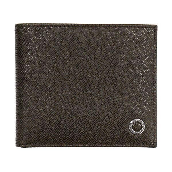 ブルガリ 二つ折り財布 36329 小銭入れ無し ダークブラウン 茶色 パスケース有り メンズ 男性用 型押し グレインレザー 本革 BVLGARI