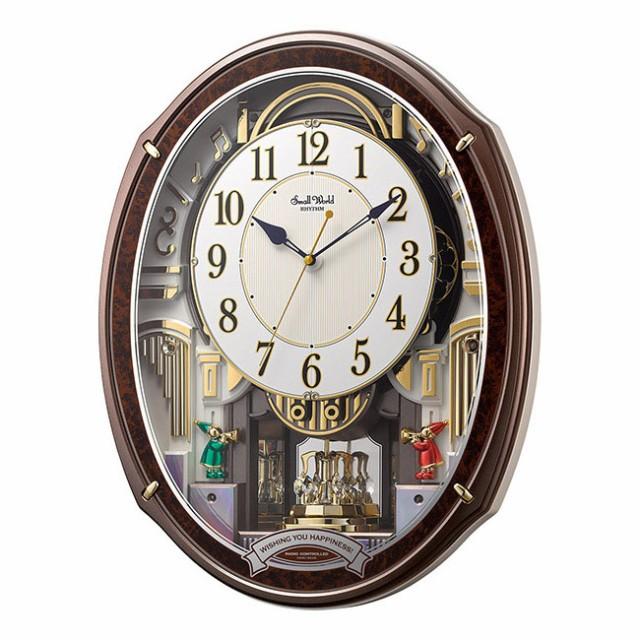 リズム時計工業 からくり 電波掛け時計 スモール...