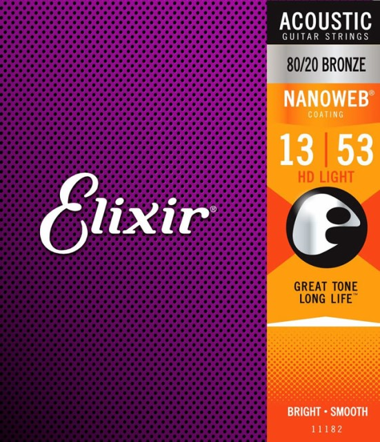 Elixir Bronze Acoustic HD Light Gauge Nanoweb ...