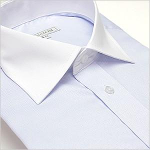長袖ワイドカラー ライトブルー ワイシャツ ワイ...
