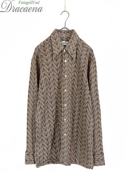 古着 シャツ 70s That Knit by PABLO 傘 総柄 レ...