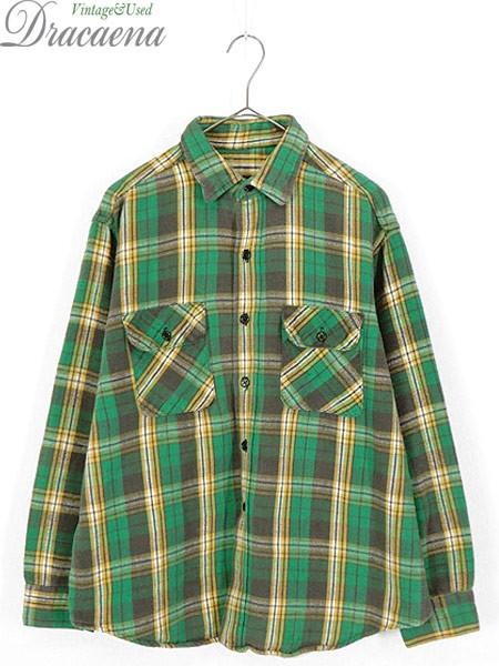古着 シャツ 70-80s 人気 グリーン チェック 100%...