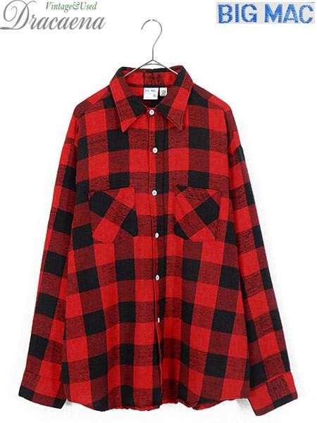 古着 シャツ 70s 単色タグ BIG MAC 赤黒 バッファ...
