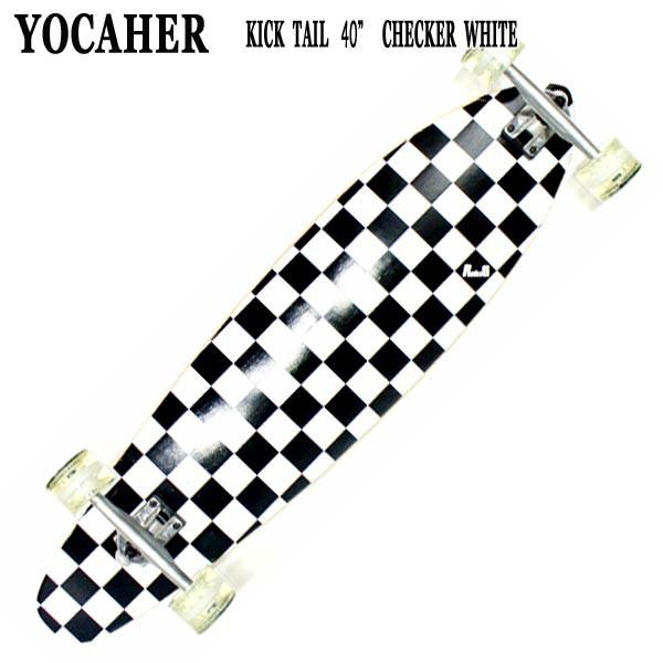 YOCAHER スケートボード KICK TAIL 40 CHECKER WH...