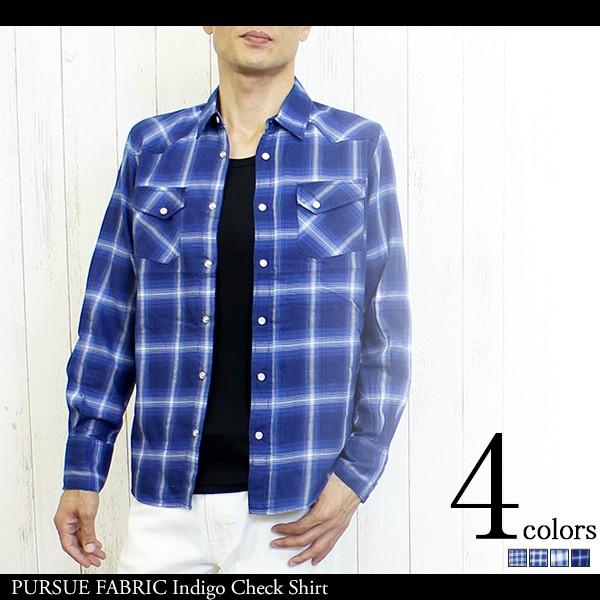 PURSUE FABRIC インディゴ チェックシャツ メンズ...