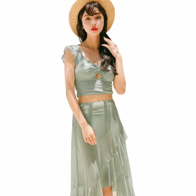 即納 水着 ビキニ レディース 体型カバー スカート 3点セット オトナ女子 可愛い セクシー セパレート ストライプ アシンメトリー フレア