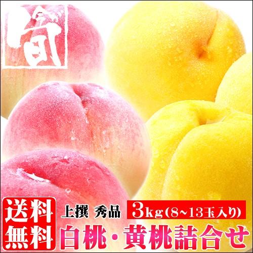 もも 送料無料 山形県産 白桃(はくとう)&黄桃(お...