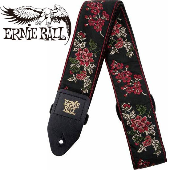 ERNIE BALL/Jacquard Strap Red Rose [#4142]【ア...