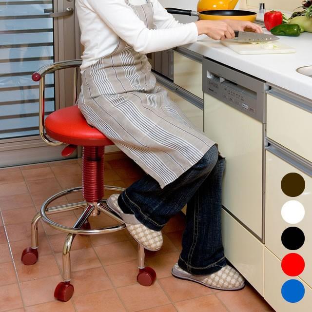 キッチンチェア ガス圧 昇降式 回転チェア キャス...