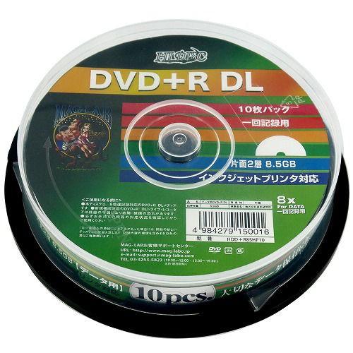 データ用 DVD+R DL 片面2層 8.5GB 10枚 HIDISC  ...