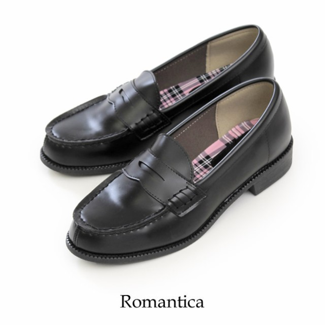 ローファー 学生 レディース Romantica 49 ブラッ...