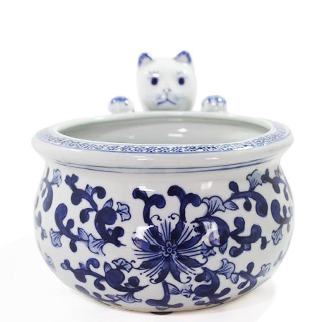 猫付金魚鉢 ねこ雑貨 陶器 プランターカバー ...