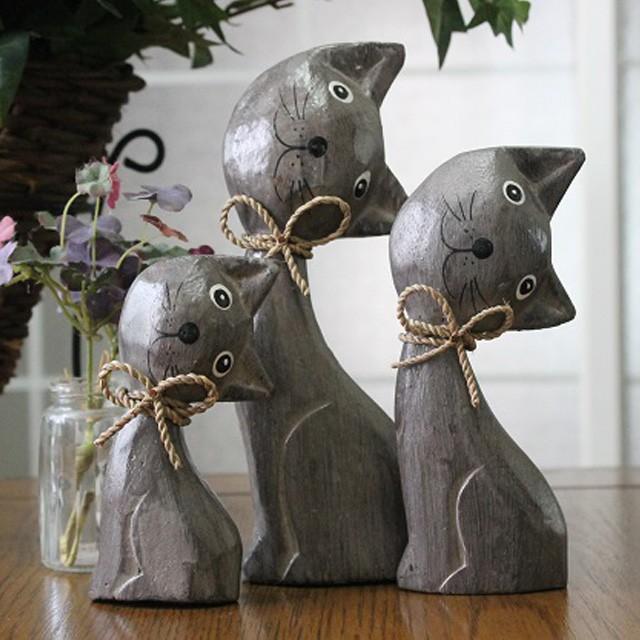はてなネコ3匹セット ねこ雑貨 木彫り猫 可愛...