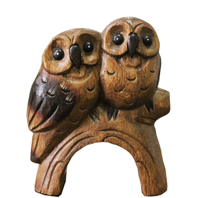 木彫りペアふくろう フクロウの置物 オブジェ ...