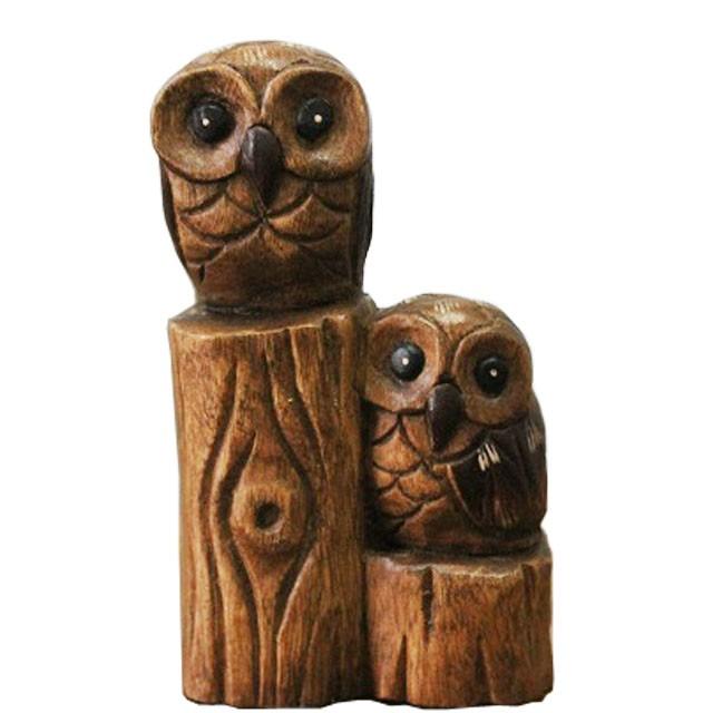 木彫り親子フクロウ ふくろう雑貨 フクロウの置...