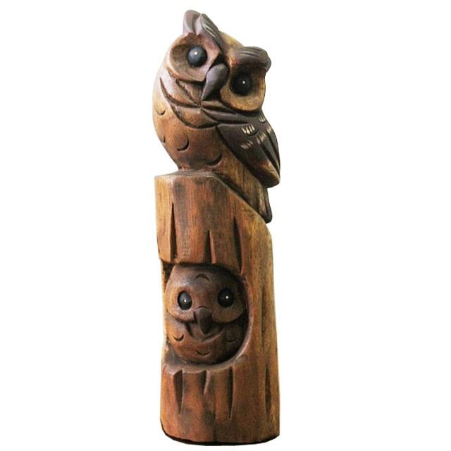 見守りミミズク親子 木彫りフクロウの置物 ハン...
