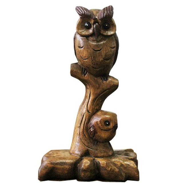 木彫りミミズク親子 木彫りフクロウの置物 ふく...