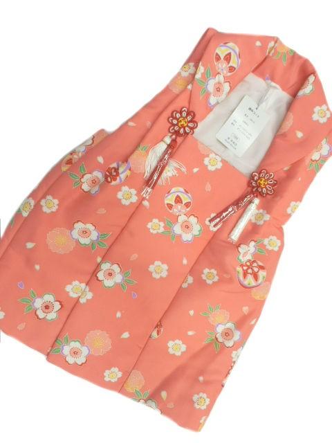 三歳用 七五三 被布 オレンジ ピンク地 手毬 小桜...