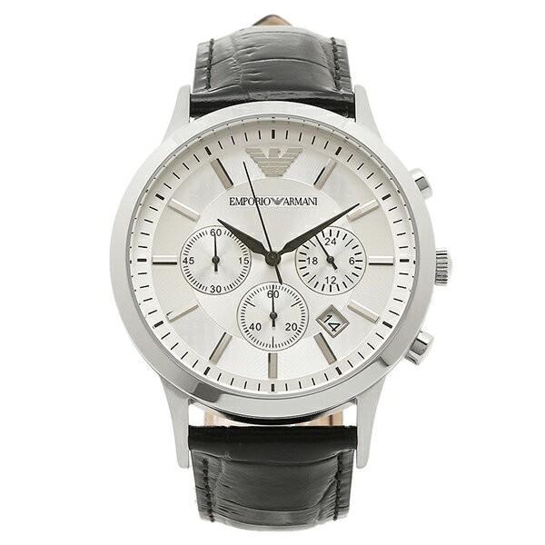 エンポリオ アルマーニ 時計 腕時計 メンズ EMPORIO ARMANI ウォッチ AR2432 クロノグラフ カーフ革/レザー シルバー