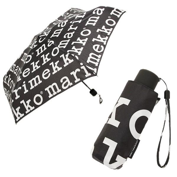 マリメッコ 折り畳み傘 レディース MARIMEKKO 41399 910 ブラック ホワイト