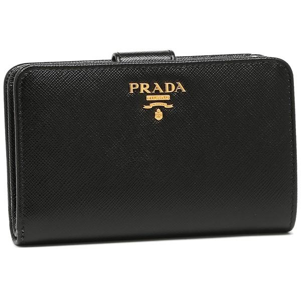 【P10% 〜9/21 9:59】プラダ 財布 二つ折り財布 レディース PRADA 1ML225 QWA F0002 ブラック