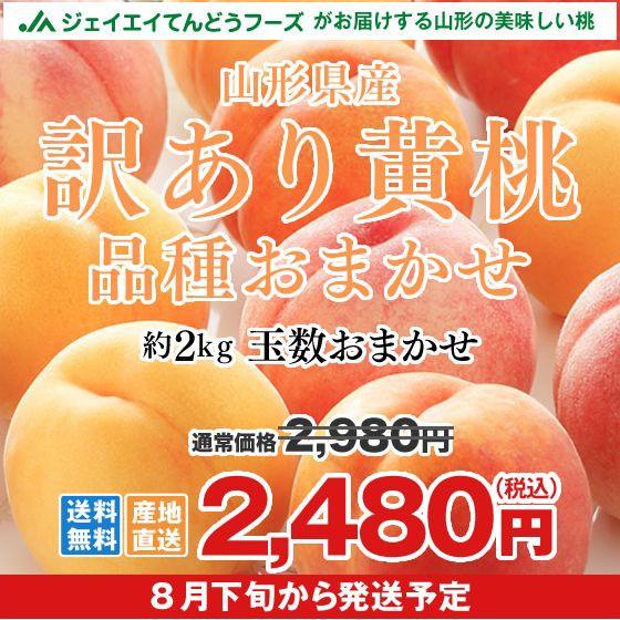【早期予約・ご自宅用】 訳あり 桃 黄桃 約2kg 山...