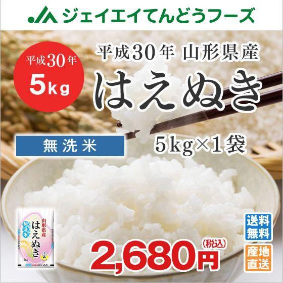 米 お米 山形県産 はえぬき 無洗米 5kg 平成30年...