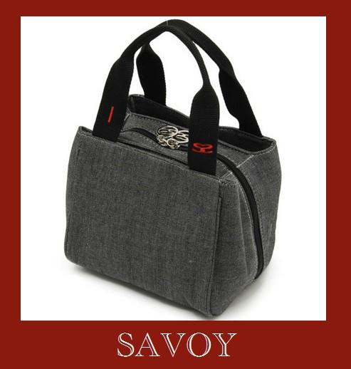 SAVOY デニム素材ハンドバック 持ち手赤のロゴ...