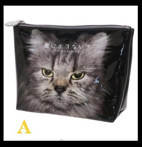 猫デザインポーチ エナメル調 人生はニャンとか...