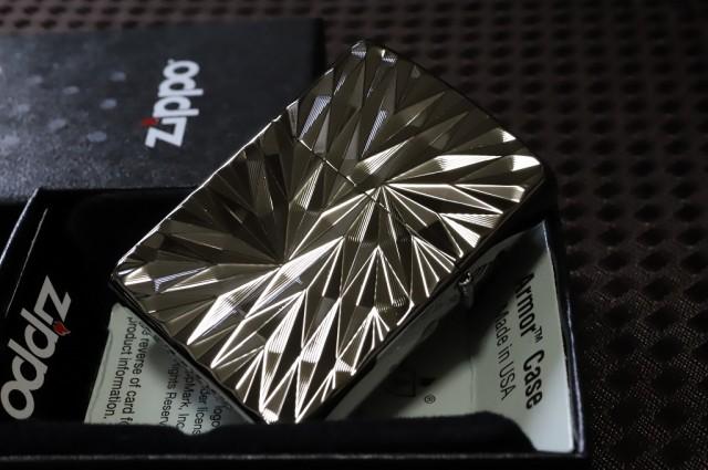 【Armor ZIPPO】 ◆SPINE-MIX ブラック 鏡面 黒◆...