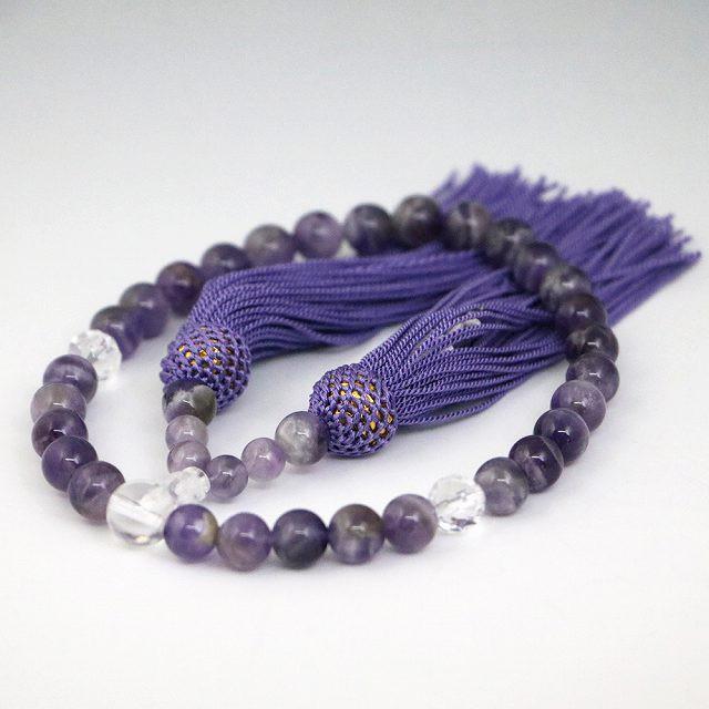 数珠 女性用 シェブロンアメジストの数珠 紫水晶