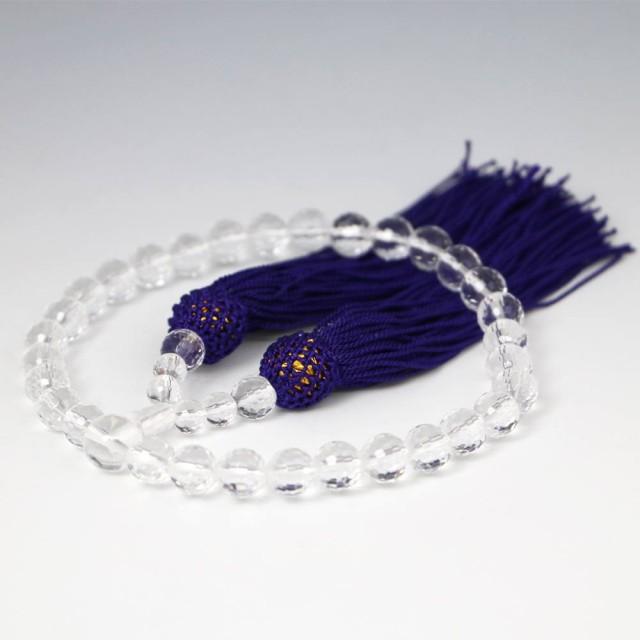 [カット玉・紫] 数珠 女性用 水晶の数珠 クリスタ...