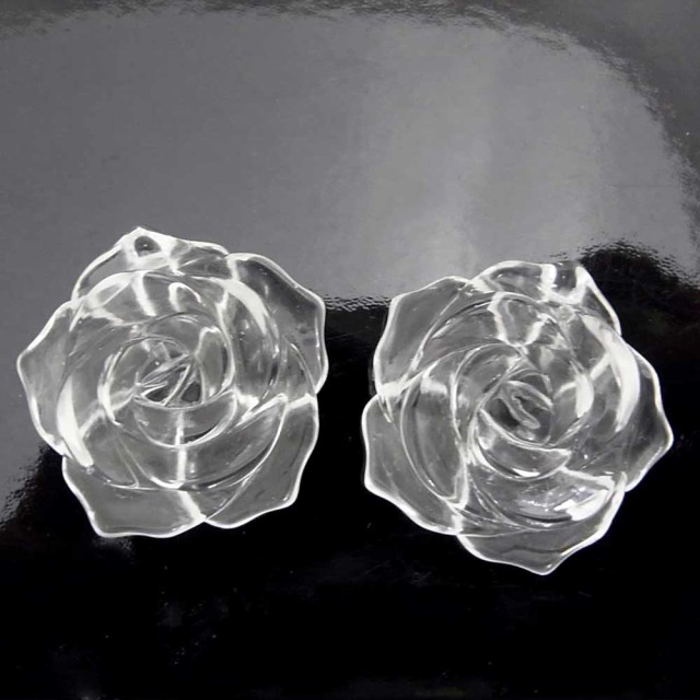 薔薇カット 水晶 彫刻 ビーズ 26mm 天然石・パ...