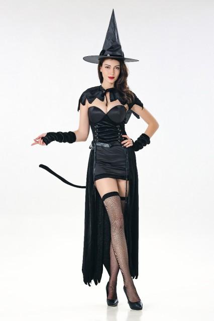 黒 魔女 コスプレ ハロウィン 仮装 しっぽ付き レ...