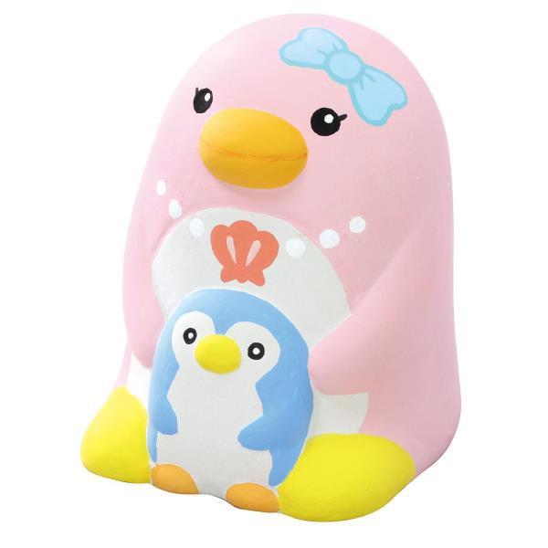 貯金箱 手作り おえかき陶器貯金箱(ペンギン親子...