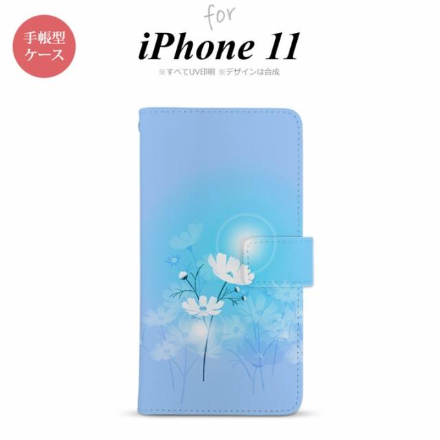 iPhone11 手帳型スマホケース カバー コスモス 水...