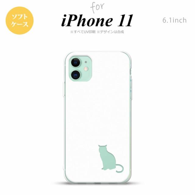 iPhone11 ケース ソフトケース 猫 影 白 クリア n...