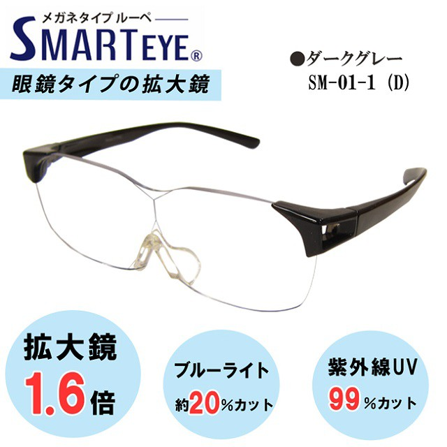 SMART EYE 拡大鏡 1.6倍 メガネタイプ ルーペ 紫...