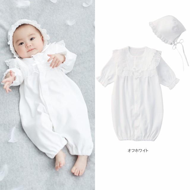 【ベビー】【日本製】新生児スムースドレス&帽子...